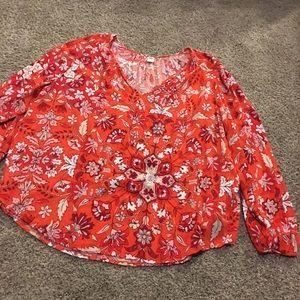 Old navy orange floral boho blouse size XXL